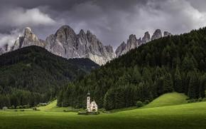 Картинка Paysage de Montagne, Chiesetta di Funes, Vacacances Italie