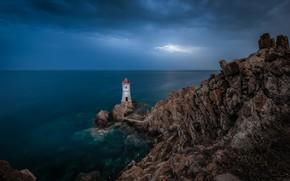 Картинка море, небо, облака, скалы, берег, маяк