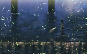 Картинка вода, девочка, фейерверк