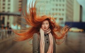 Картинка ветер, девочка, рыжеволосая, пальто, Ahmed Hanjoul, The red hair