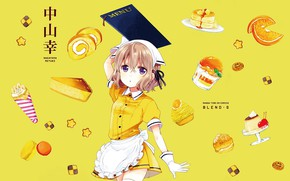 Картинка апельсин, сладости, перчатки, официантка, косынка, желтый фон, меню, печеньки, фартук, пудинг, макарони, рулетик, Blend S, …