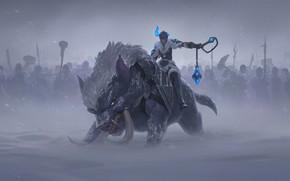Картинка зима, поле, девушка, зверь, Sejuani, Legends of Runeterra
