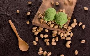Картинка шарики, мороженое, орехи, десерт, фисташки