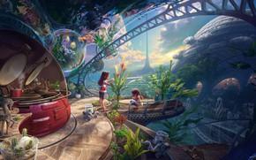 Картинка дети, дом, 40 years in the future, environmental damage, Inner child
