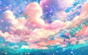 Картинка небо, девушка, птицы, зонтик, фэнтези