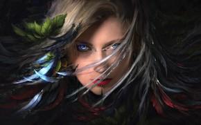 Картинка Girl, fantasy, art, blue eyes, feathers, leaves, lips, face, digital art, artwork, piercing, fantasy art, …