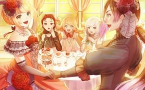 Картинка чаепитие, декольте, парень, колье, веселье, цветок в волосах, перчатки локтя, за столом, пироженые, бальное платье, …