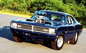 Картинка Muscle, Dodge, Blue, Engine, Demon, Drag race, Dodge Demon, Custom classic car