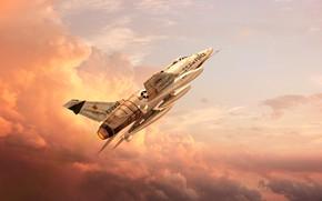 Картинка Небо, Облака, Самолет, Полет, Истребитель, USA, ВВС, Самолёт, GrahamTG, Летит, Super Sabre, F-100, North American …
