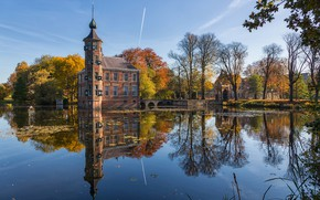 Картинка осень, башня, Нидерланды, Бреда, Bouvigne Castle