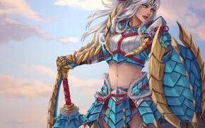 Картинка девушка, меч, щит, art, monster hunter, zinogre armor