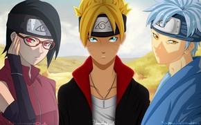 Картинка аниме, арт, команда, Наруто, Naruto, трое, Сарада, Боруто, Мизуки