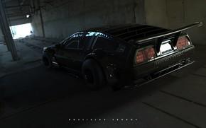 Картинка Авто, Машина, DeLorean DMC-12, DeLorean, DMC-12, Рендеринг, Black Edition, Transport & Vehicles, Rostislav Prokop, by …