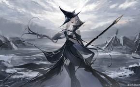 Картинка лед, девушка, оружие, Arknights, Gladiia