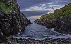 Картинка море, пейзаж, тучи, камни, скалы, берег, маяк, Ирландия, Donegal, Fanad Head Lighthouse, Графство Донегол