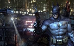 Картинка Город, Игра, Вертолет, Бэтмен, Костюм, Пояс, City, Герой, Маска, Плащ, Супергерой, Hero, Прожектор, Batman, Batman: …