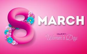 Картинка цветы, happy, розовый фон, 8 марта, pink, flowers, женский день, 8 march, women's day
