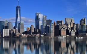 Картинка отражение, Нью-Йорк, США, небоскрёбы