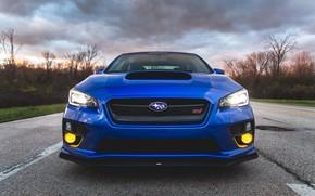 Картинка Subaru, Impreza, WRX, Blue, STI, Front, Face
