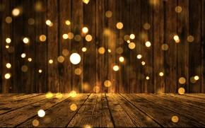 Картинка фон, доски, golden, золотой, gold, new year, wood, background, боке, bokeh, celebration, sparkle