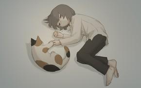 Картинка кошка, мальчик, слезы