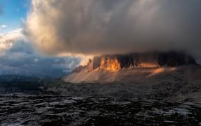 Картинка небо, облака, свет, горы, тучи, скалы, облако, Италия, туча, Доломиты, заслон, таинственно, скрытое