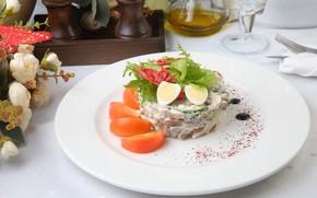 Картинка яйцо, помидор, салат