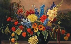 Картинка картина, натюрморт, живопись, холст, Натюрморт с осенними цветами, Camilla Gobl-Wahl