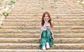 Картинка девушка, лестница, ступени, азиатка