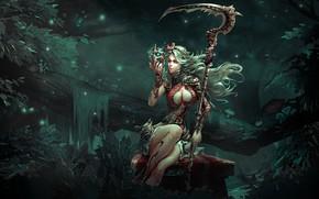 Картинка лес, девушка, смерть, коса