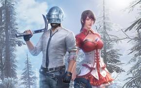 Картинка зима, девушка, оружие, шлем, парень, PlayerUnknown's Battlegrounds