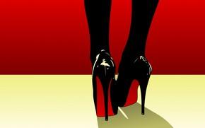 Картинка вектор, туфли, каблук, pop art