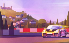 Картинка Стиль, Car, Арт, Art, Porsche 911, Style, Digital, Illustration, Sportcar, Sport Car, Transport & Vehicles, …