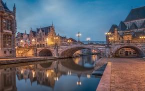 Картинка мост, город, река, здания, фонари, Бельгия, Гент, башенки