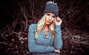 Картинка взгляд, природа, поза, фон, модель, шапка, портрет, макияж, прическа, блондинка, боке, Heiko Klingele, Maritta