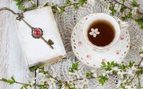 Картинка весна, цветение, blossom, flowers, cup, spring, tea, чашка чая