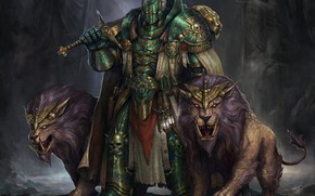 Картинка оружие, доспехи, существа, броня, рыцарь, львы, Warhammer 40 000, Warhammer 40K