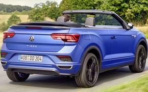Картинка движение, скорость, трасса, Volkswagen, шоссе, speed, track, traffic, экстерьер, Cabriolet, exterior, T-Roc, 2021, Blue Edition, …