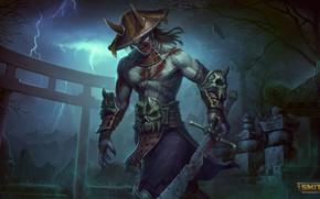 Картинка оружие, молния, игра, меч, шляпа, game, персонаж, Smite