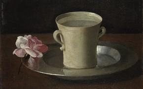 Картинка Francisco de Zurbaran, Натюрморт с чашкой воды и розой, 1630