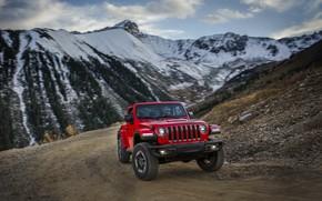 Картинка снег, красный, вершины, горная дорога, 2018, Jeep, Wrangler Rubicon
