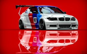 Картинка BMW, Машина, Рендеринг, Красный фон, BMW 1 Series, Transport & Vehicles, Clinched, Kasim Tlibekov, by …