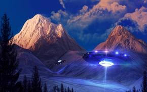 Картинка облака, свет, пейзаж, горы, фантастика, НЛО, космический корабль, инопланетяне, прожекторы, летающая тарелка, инопланетный корабль