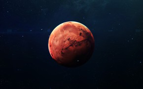 Картинка Звезды, Планета, Космос, Марс, Арт, Stars, Space, Art, Спутник, Planet, Mars, Satellite, Красная планета, Солнечная …