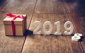 Картинка зима, дерево, подарок, доски, Новый Год, new year, wood, winter, background, gift, 2019