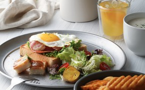 Картинка яйцо, завтрак, сок, овощи, салат