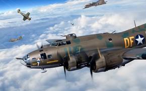 Картинка USAF, B-17, Вторая Мировая война, Тяжёлый бомбардировщик, B-17F