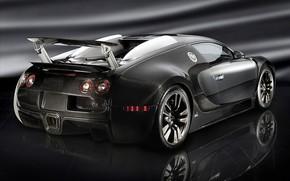 Картинка тюнинг, купе, Bugatti Veyron, black, гиперкар, полноприводная, среднемоторная, Единственный в мире, Mansory Linea Vincero