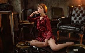 Картинка взгляд, девушка, поза, кресло, Оля Пушкина, Сергей Потульный
