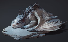 Картинка мышка, фэнтези, арт, дракончик, детская, Maria Panfilova, Dragon and mouse